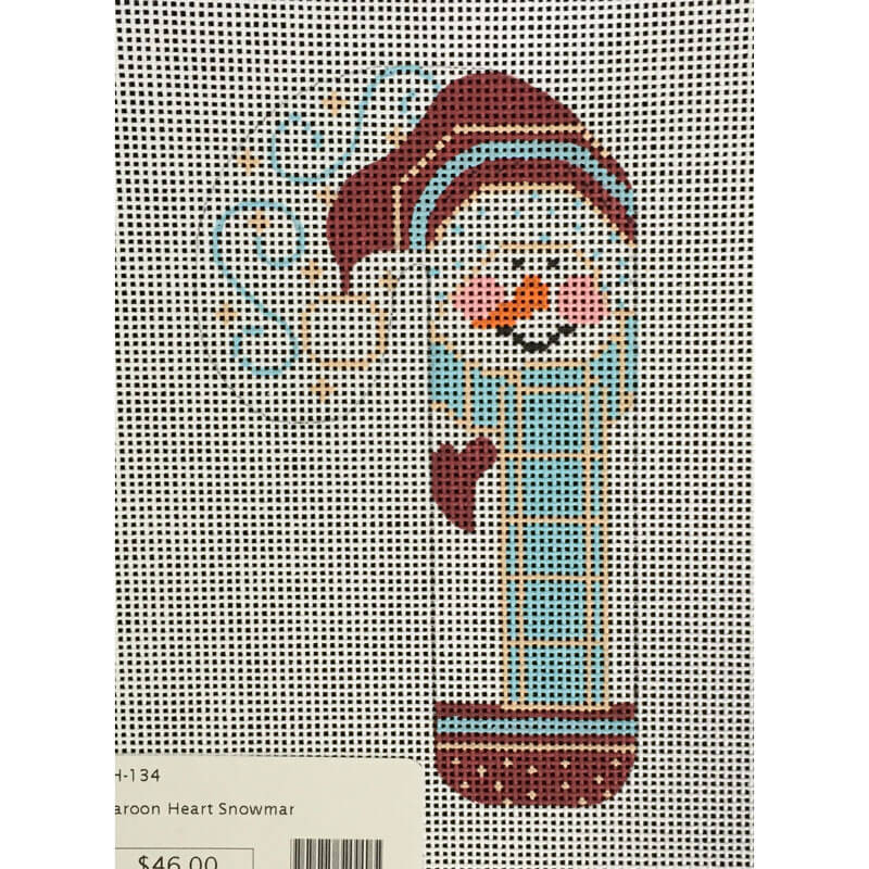Nashville Needleworks-3796-Maroon Heart Snowman Candy Cane