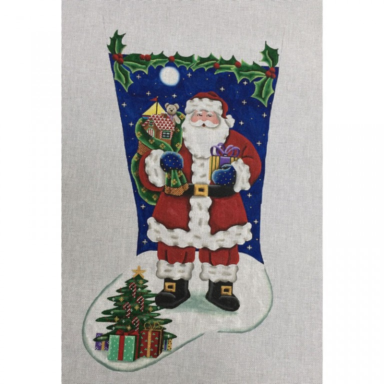 Nashville Needleworks-3843-Traditional Santa Stocking With Holly Border