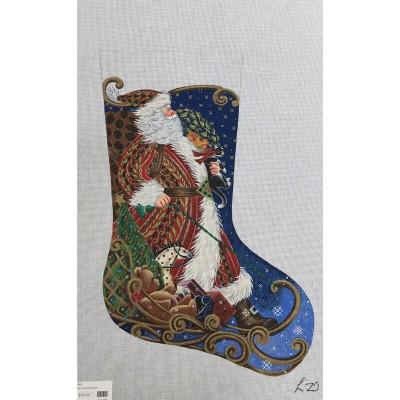 Nashville Needleworks-2716-Sledding Santa Stocking