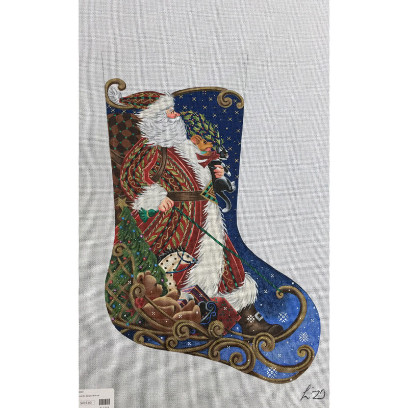 Nashville Needleworks-2716-Sledding Santa Stocking
