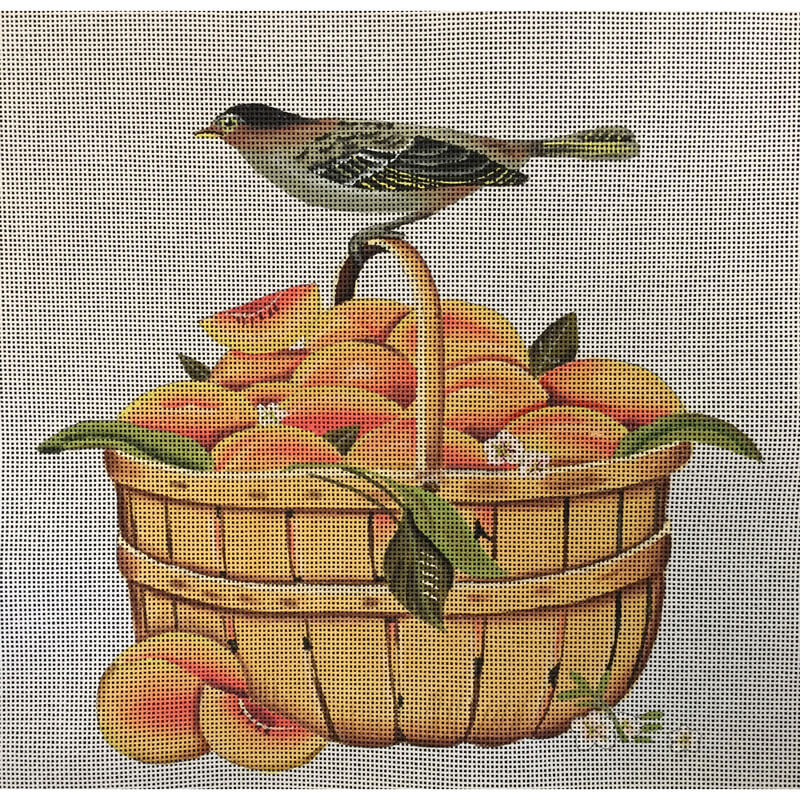 Nashville Needleworks-1373-Peach Basket with Bird