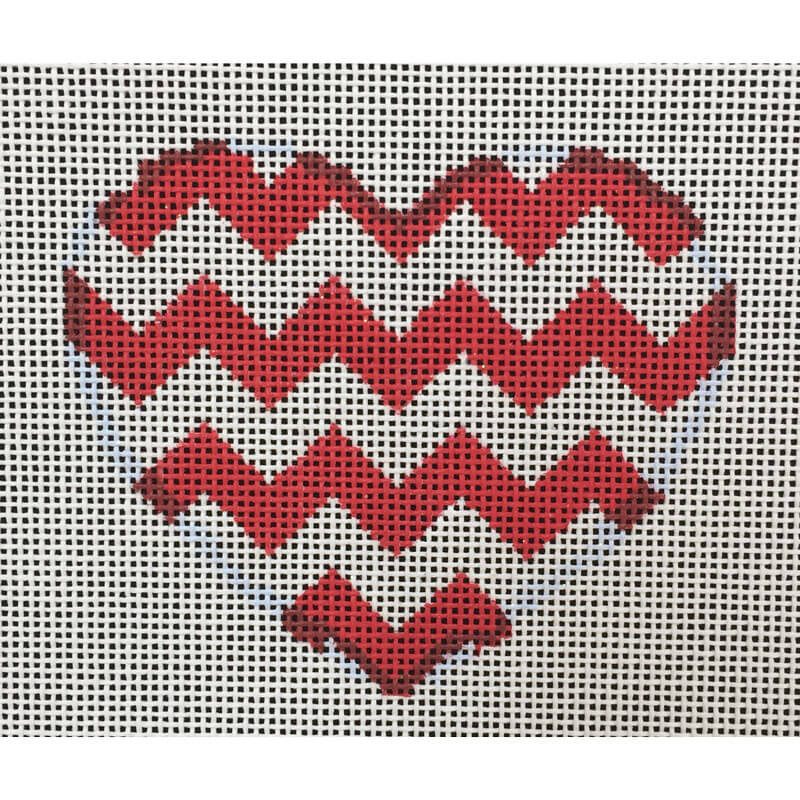Nashville Needleworks-4162-Red/White Chevron Heart