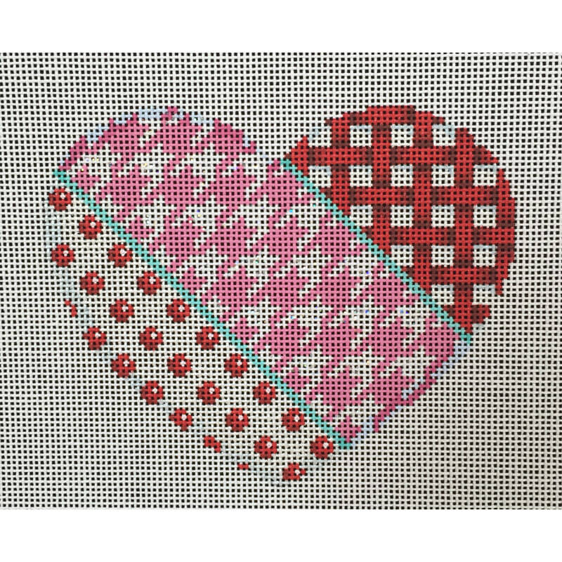 Nashville Needleworks-4163-Woven/Hounds Tooth/Dot Heart