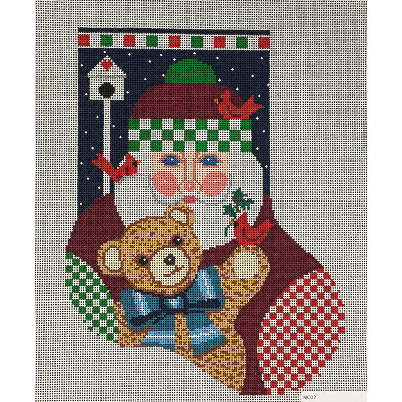 Nashville Needleworks-4147-Santa w/Teddy Mini Sock