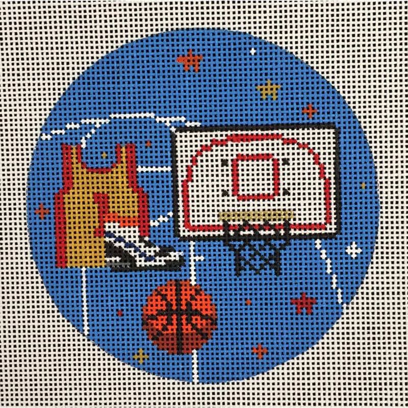 Nashville Needleworks-4465-Basketball Round Ornament