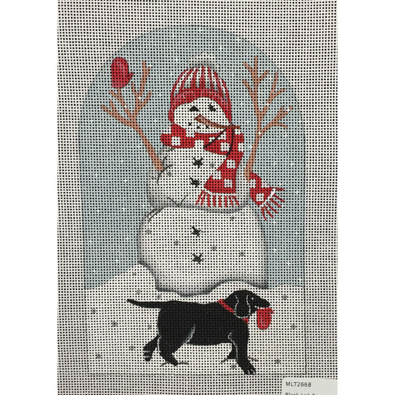 Nashville Needleworks-4409-Black Lab Snowman