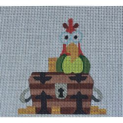Nashville Needleworks-2423-Tiny Treasure Chest with Parrot