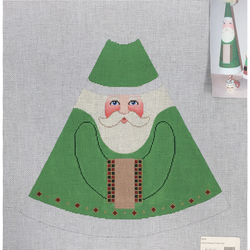Nashville Needleworks-461-Cone Shaped Green Santa