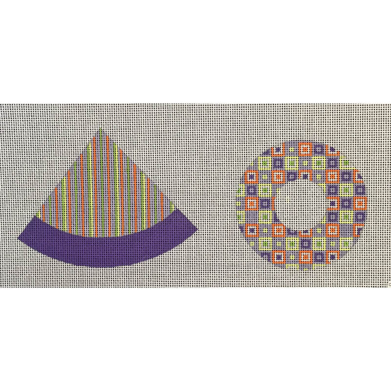 Nashville Needleworks-5246-Orange & Purple Check/Stripe Hat