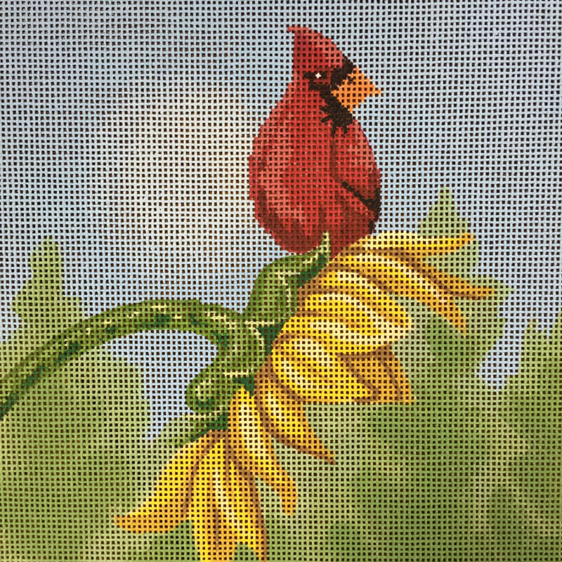 Nashville Needleworks-5193-Cardinal on Sunflower