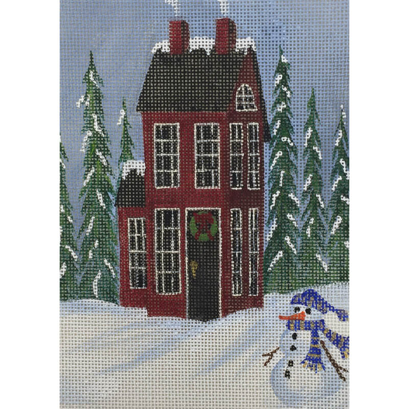 Nashville Needleworks-5568-Christmas House with Snowman