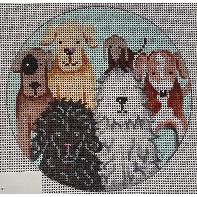 Nashville Needleworks - 5720 - Doggies Round Ornament