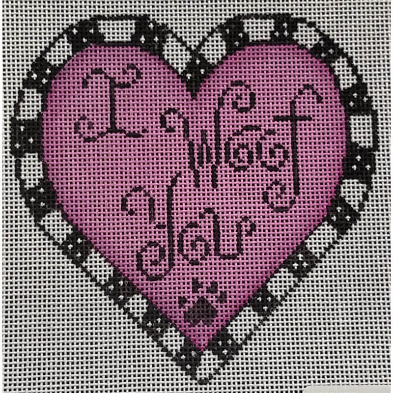 Nashville Needleworks - 5721 - I Woof You On Pink Heart