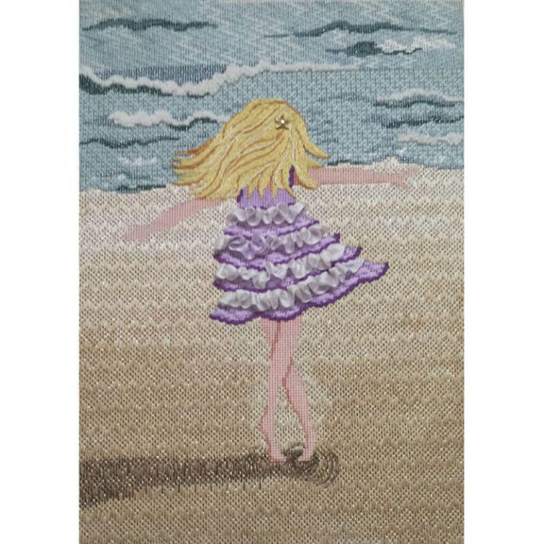 Nashville Needleworks-Girl Twirling on the Beach