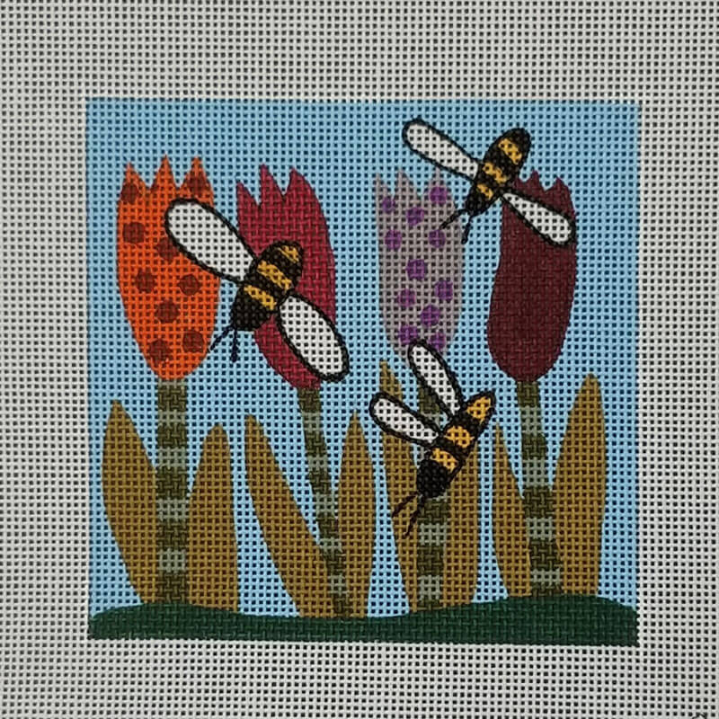 Nashville Needleworks-6300-Bees in Flowers