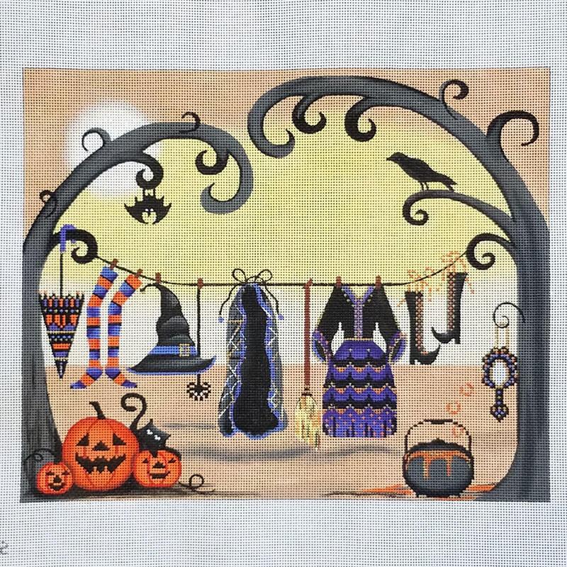 Nashville Needleworks-6336-Witches Clothes on Clothesline